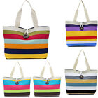 Women Casual Canvas Handbag Shoulder Bag Colored Stripes Shopping Bag Tote Purse