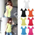 Women Girl Silm V-Neck Short Sleeves Cotton Thread T-Shirt Top Blouse Fashion