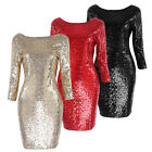 Sexy Women's Long Sleeve Bodycon Casual Party Evening Mini Dress Clubwear P92