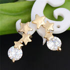 18K Gold Plated Stars Shiny Crystal CZ Fashion Charming Stud Earrings 1 pair
