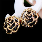 18K Gold Plated Rose Flower Colorful Cubic Zirconia Stud Earrings Jewelry Gift