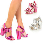 Womens Ladies Sandals Mid Block Chunky High Heel Ankle Strap Strappy Shoes Size