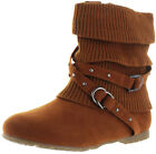 Moda Essentials Women's Strappy Ankle Buckle Knit Sweater Booties Boots