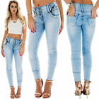 New Ladies High Waisted Diamante Pocket Button Up Zip Detail Skinny Denim Jeans