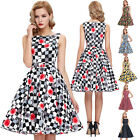 50'S 60'S DANCE TEA DRESS Vintage Style Swing Pinup Retro Housewife Party Dress