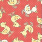 BOT BUDDIES DUCKS ORANGE KIDS FLANNEL CATHY HECK BLUE HILLS FABRIC *Free Oz Post