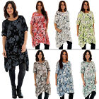 New Ladies Italian Lagenlook Blossom Flower Print Top Plus Size 10 12 14 16 18