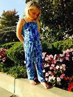 NWT LILLY PULITZER GIRLS (KIDS) KORRA JUMPSUIT BLUE CRUSH...
