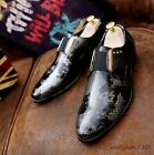 Fashion mens patent leather pointy toe floral dress formal loafer shoes oxford