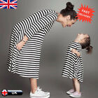 Mother & Daughter Striped 3/4 Sleeve Dress Casual family cloth Women Girls Dress