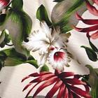 Hawaiian Print Barkcloth Dobby Cotton Fabric Large Okika & Monstera on Ivory