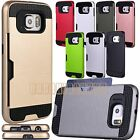 for samsung galaxy S6 case hybrid card slot black silver gold red pink gray