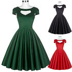 Fashion Cap Sleeve Short A-line Pleated Women Retro Prom Ball Party Casual Dress