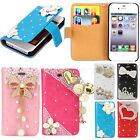 Cute For iPhone 4G 4S Flip Leather Wallet Handbag Diamond Bling Case Cover Stand
