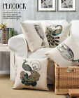 "Colorful Classical Peacock Pillow Case Cushion Cover Square Home Decor 17"" Linen"