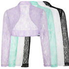 Womens Ladies Long Sleeve Cropped Lace Shrug Bolero Jacket Cardigan Tops S-XL