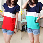 New Women Chiffon Colors Collision Loose Casual Sleeve Tops Blouse Short T-Shirt