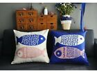 "Simple Blue & Beige Fish Animal Pillow Case Cushion Cover Square 18"" Sofa Decor"