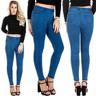 New Womens High Waisted Denim Pants Plain Jeggings Stretchy Jeans 6 8 10 12 14