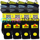 Mens 12 Pairs Heavy Duty Work Socks Size 6-11 11-14 Multipack Big Foot Black Mix