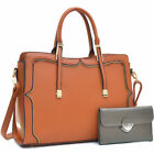 Dasein Fashion Faux Leather Gold-Tone Satchel Shoulder bag Wallet Set