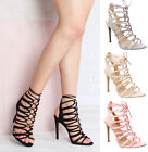 Womens ladies high stiletto lace up tied strappy heel casual party sandals size