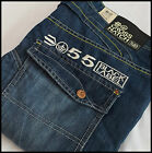 MENS DESIGNER STYLE Crosshatch DENIM BLUE JEANS BOOTCUT REG FIT BLACK LABEL 55