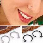1/10 Pairs Hoop Stud Earring Clip On Surgical Steel Piercing Body Nose Lip RINGS
