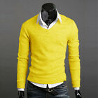 Men's Solid Knit Wear Jumpers Casual Business Slim Basis Tops Pullover V Neck