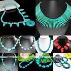 Howlite Turquoise Round Gemstone Beads Chain Collar Choker Necklace Jewelry Gift
