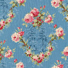 FADED SPLENDOUR ROSE TOILE BLUE QUILTING QUILT COTTON FABRIC *Free Oz Post