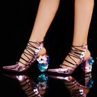 Womens Pointed Toe Party Shiny Sequins Block Heels Roman Lace Up Slingback Shoes