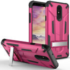 For LG Q7+ HYBRID HARD Protector KICKSTAND Rubber Phone Case Cover Accessory