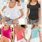 Sexy Womens Short Sleeve Draped T-shirt Blouse Scoop Neck Summer Casual Tee Tops