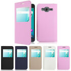 Samsung Galaxy J3 2016 View Window Flip Leather Case Cover Hard Back Skin