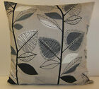NEW SINGLE CUSHION COVERS  RETRO 60s STYLE SLATE GREY BLACK OFF WHITE LEAVES