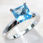 LOVELY 2 CT AQUAMARINE 925 STERLING SILVER RING SIZE 5-10