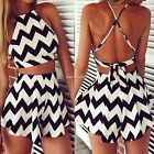 2pcs Women Backless Ladies Shorts Beach Summer Playsuit Jumpsuit Romper Trousers