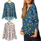Womens Cotton Long Sleeve T-shirt Blouse Loose Casual Floral Print Tops V-neck