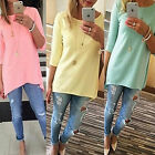 New Womens Autumn Loose Pullover T Shirt 3/4 Sleeve Casual Shirt Blouse Long Top