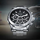 PREMA Unique Date Stainless Steel Case Band Black White Mens Watch