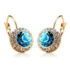 Women Crystal Gold Plated Cubic Zirconia Rhinestone Earrings Ear Clip