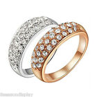 1PC Fashion Unisex Women Men Alloy Simple Crystal Ring Lovers Couples Gift