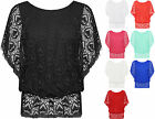 Womens Plus Lace Heart Boho Top Ladies Elasticated Crochet Short Sleeve Lined