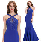 BLUE Sexy Mermaid Cocktail Prom Grad Dresses Formal Evening Beaded Long Ballgown