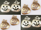 30pcs Retro Gold/Silver Pumpkin Shaped Face Hollow Charm Pendants