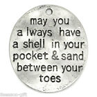 Gift Wholesale Metal Charm Pendants Letters Carved Oval Silver Tone 3cmx2.6cm