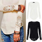 Fashion Lady Sexy Long Sleeve T Shirt Casual Lace Women Blouse Loose Cotton Top