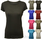 New Ladies Plain Soft Stretch T-shirt Womens Short Sleeve Crew Neck Top 8 - 14
