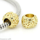 Gift Wholesale Spacer Beads Flower Carved Fit European Charm Bracelets